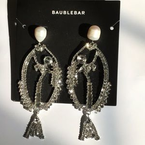 Large Faux Diamond Fish Earrings